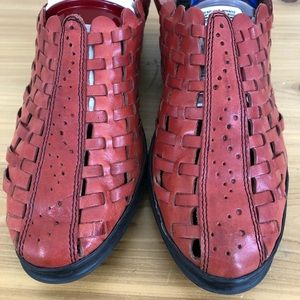 Rieker antistress sole, red woven leather, size 8